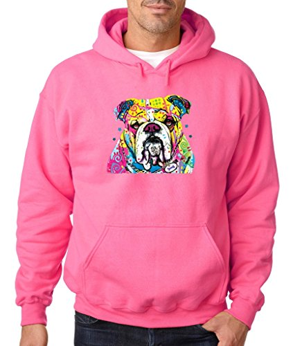 Bulldog Lover I Love Bulldog Hoodie Cute Bulldog Dog Mom Dog Dad Sweatshirt Safety Pink 521 by VISHTEA