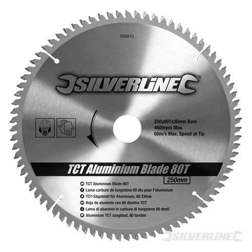 Silverline 456915 - Disco de TCT para aluminio, 80 dientes (250 x 30 - anillos de 25, 20 y 16 mm) Toolstream
