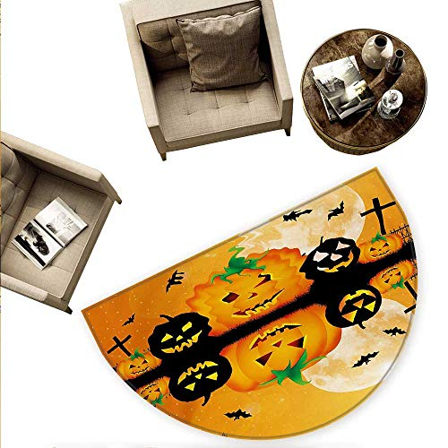 Halloween Half Round Door mats Spooky Carved Halloween Jack o Lantern and Full Moon with Bats and Grave Lake Bathroom Mat H 55.1