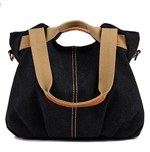 Women's Top Large Bag Hobo Tote 01 Handbag Size Bag Black Crossbody Canvas Shopper handle Shoulder Vintage gTwrqUg