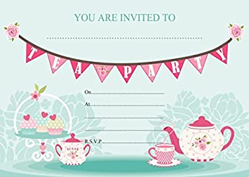 ABV Designs 10 x Afternoon Tea Birthday Party Invitations Blue