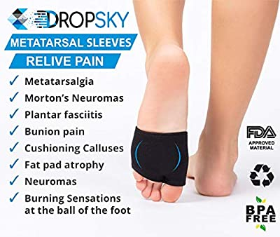 Metatarsal Sleeve with Gel Pads - 2 Pairs - Ball of Foot Cushions with Soft Gel - Fabric Compression - Help Metatarsalgia, Mortons, Neuroma, Calluses Blisters, Diabetic Feet - for Women, Men - Black