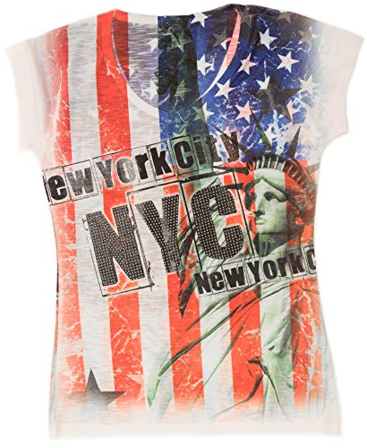 - Sweet Gisele New York City American Flag T Shirt With Rhinestone Bling (L)
