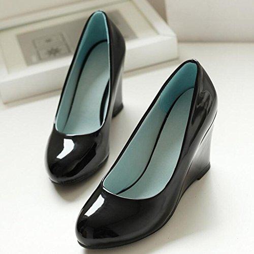 escarpins Printemps Similicuir PU Bouche Peu Profonde Tête Ronde Talon de Pente Talons Hauts Chaussures pour Femmes Chaussures de Printemps Noir 5ri9TDwXj4