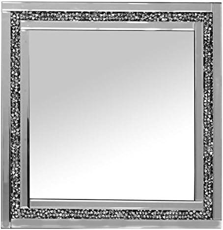 Pharmo Gatsby Argento Specchio da Parete Quadrato 60/cm x 60/cm con Diamanti Brillanti