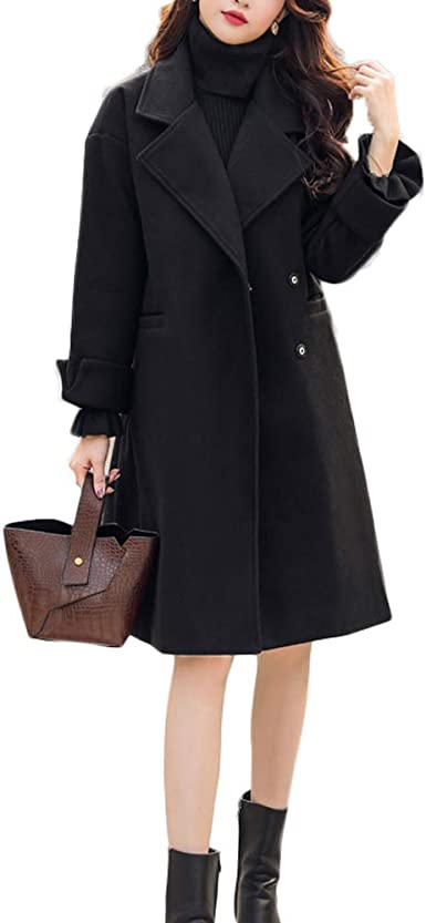 Volwassan Womens Double Breasted Wool Coat Long Trench Jacket Notched Lapel Pea Coat