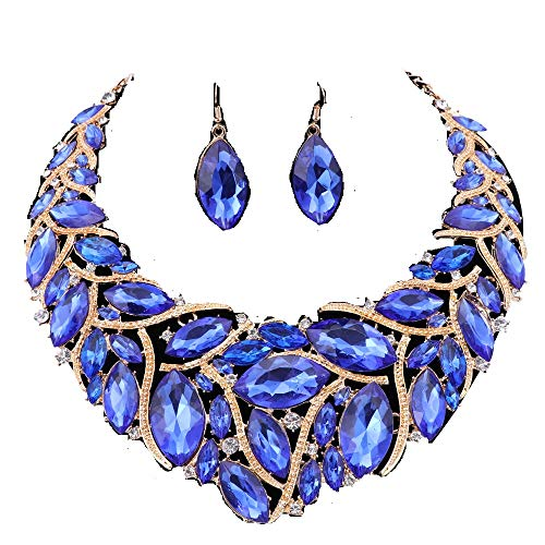 (African Beads Jewelry Sets Women Bridal Crystal Statement Necklace Earring Jewelry Sets (Blue))