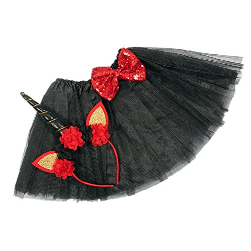 Layered Tutu Skirts with Unicorn Horn Headband for Little Girls Birthday Party Costumes Set (Black (Handcrafted Black Horn)