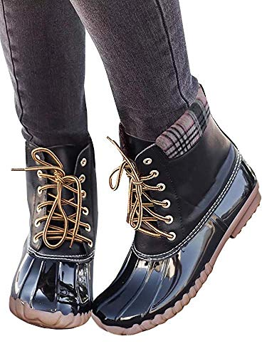 - Hestenve Womens Lace up Ankle Duck Boot Waterproof Combat Rainboot for Ourdoor Duck Style Rain Boots
