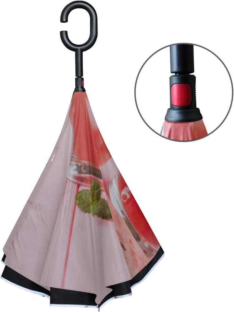 Double Layer Inverted Inverted Umbrella Is Light And Sturdy Watermelon Summer Cocktail Ice Mint Leaves Reverse Umbrella And Windproof Umbrella Edge N