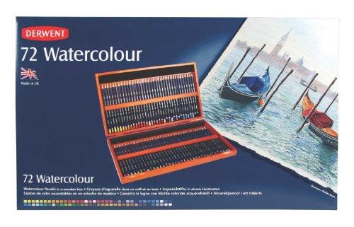 Derwent Watercolor Colored Pencils, 72 Watercolour, 3.4mm Core, Wooden Box, 72 Count (32891)