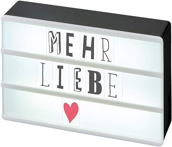Moses. 63105, Happy Me LED caja de luz con Mini puerto USB, Con 120 letras, números y símbolos, plástico, Negro, 10.5 x 15.0 x 4.0 cm: Amazon.es: Iluminación