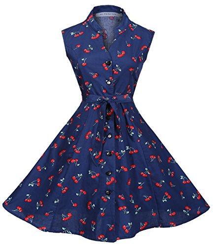 Retro Cherries - BI.TENCON Women's Vintage Retro Cherry Printed Blue Belted Sleeveless Summer Work Casual Dress XL