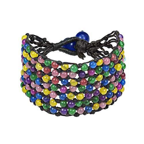 AeraVida Pretty Seven Row Multi Stone Net Toggle Bracelet