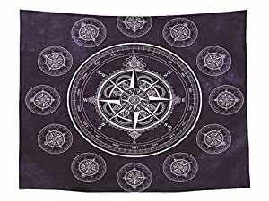 Compass Pattern Tapestry Wall Hanging Dorms Decorative Tapestries Yoga Mat Sunbathe Outdoor Beach Towel Picnic Blanket