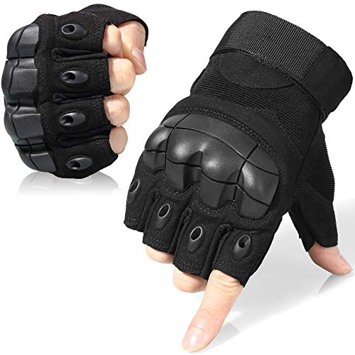 WTACTFUL Tactical Gloves Military Fingerless Half Finger Gloves for Army Gear Driving Paintball Airsoft Riding Motorcycle Motorbike Hunting Military Cycling Work Men Women Size X-Large Black