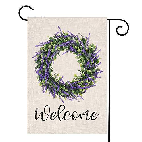 (YOENYY Lavender Wreath Welcome Small Garden Flag Farmhouse Summer Fall Purple Flowers Green Leaves Burlap Vertical Double Sided Yard Decoration 12.5 x 18 Inch)