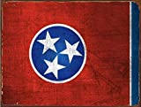 Cheap Sun Protected Tennessee State Flag Metal Sign, Guaranteed not to fade for 4 years, Volunteer State, Americana, Rustic Décor