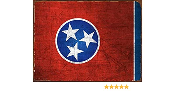 Tennessee State Flag USA Wall Art Gift Vintage Retro Look Street Metal Sign