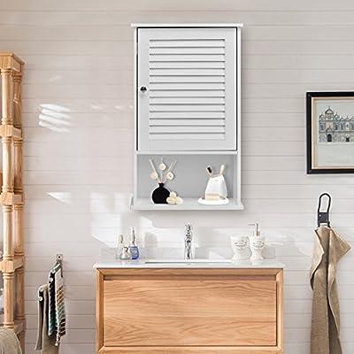 Tangkula Bathroom Storage Single Door Wall Mount Organizer Cabinet
