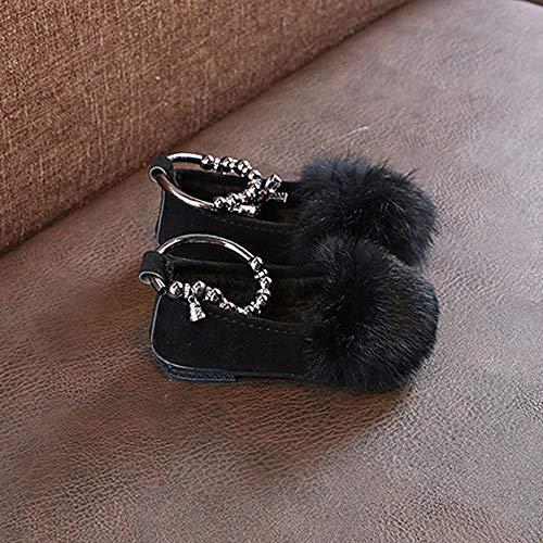 Yanhoo Niñas Más Flock Bowknot Cálida Cálido Fluffy Negro Princesa Bebés Inclinan Niños Se Zapatos Terciopelo Los Las Estudiante De Piel Individual 5rwx04rq