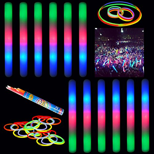 "16"" Multicolor LED Flashing Effect Foam Sticks Party Pack (12 Pack) and 24 8"" Glow Sticks by Joyin Toy"
