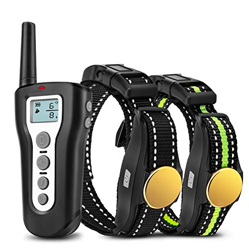 Dog Training Collar 2 Dogs 1000ft Remote Rechargeable 100% Waterproof Electric Shock Collar with Beep Vibration Harmless Shock for Small Medium Large Dogs]()