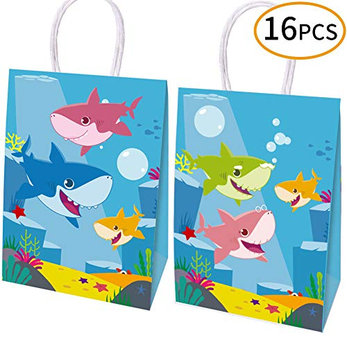HYOUNINGF 16 Packs Happy Shark Family Party Bags,Treat,Candy and Goodie Bags,Shark Gift Bags Party Supplies for Kids Cute Shark Themed Party, Birthday Decoration Gift Bags