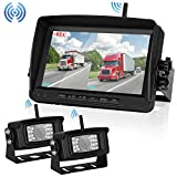 "Digital Wireless Dual Backup Camera 7"" Monitor Split Screen Recorder for Trailer/RV /Truck/Camper High-Speed Observation System Rear View Camera Night Vision IP69K Waterproof Review"