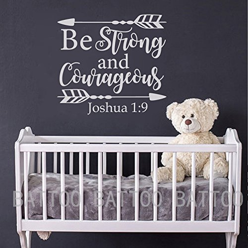 BATTOO Joshua 1:9 Be strong and courageous - Nursery Wall Decal Quote Arrows Vinyl Wall Decal - Bible Verse Boy Room Scripture Wall Decal Vinyl Lettering(white, 24''WX22''H) by BATTOO