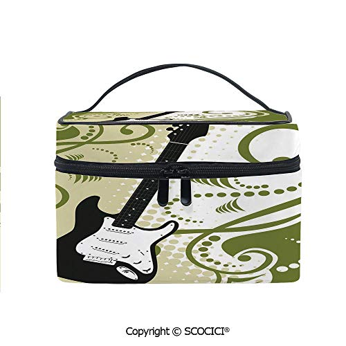 (Printed Makeup Bag Organizer toiletry bag Electric Bass Guitar Figure with Swirls Background Artful Illustration for Girls Ladies)