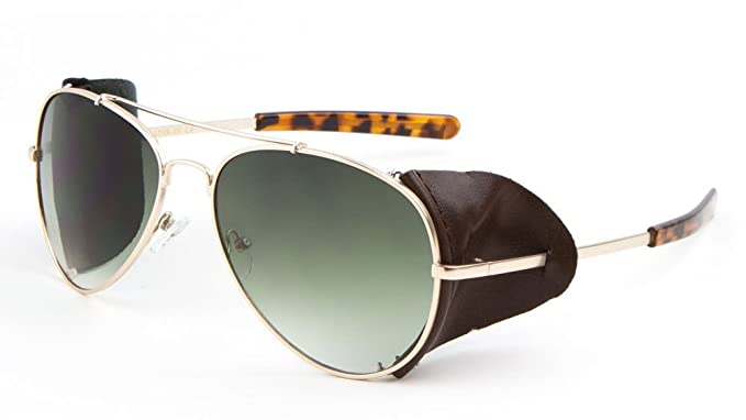 16c3ad78a7 Amazon.com  Retro Aviator Sunglasses w  Faux Leather Side Shields (Gold  Frame - Brown Leather