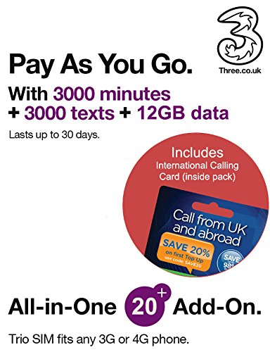 Three UK All-in-one 20+ PAYG Trio SIM Card -3000 minutes, 3000 texts + 12GB...