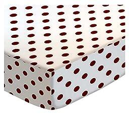 SheetWorld Round Crib Sheets - Burgundy Polka Dots - Made In USA