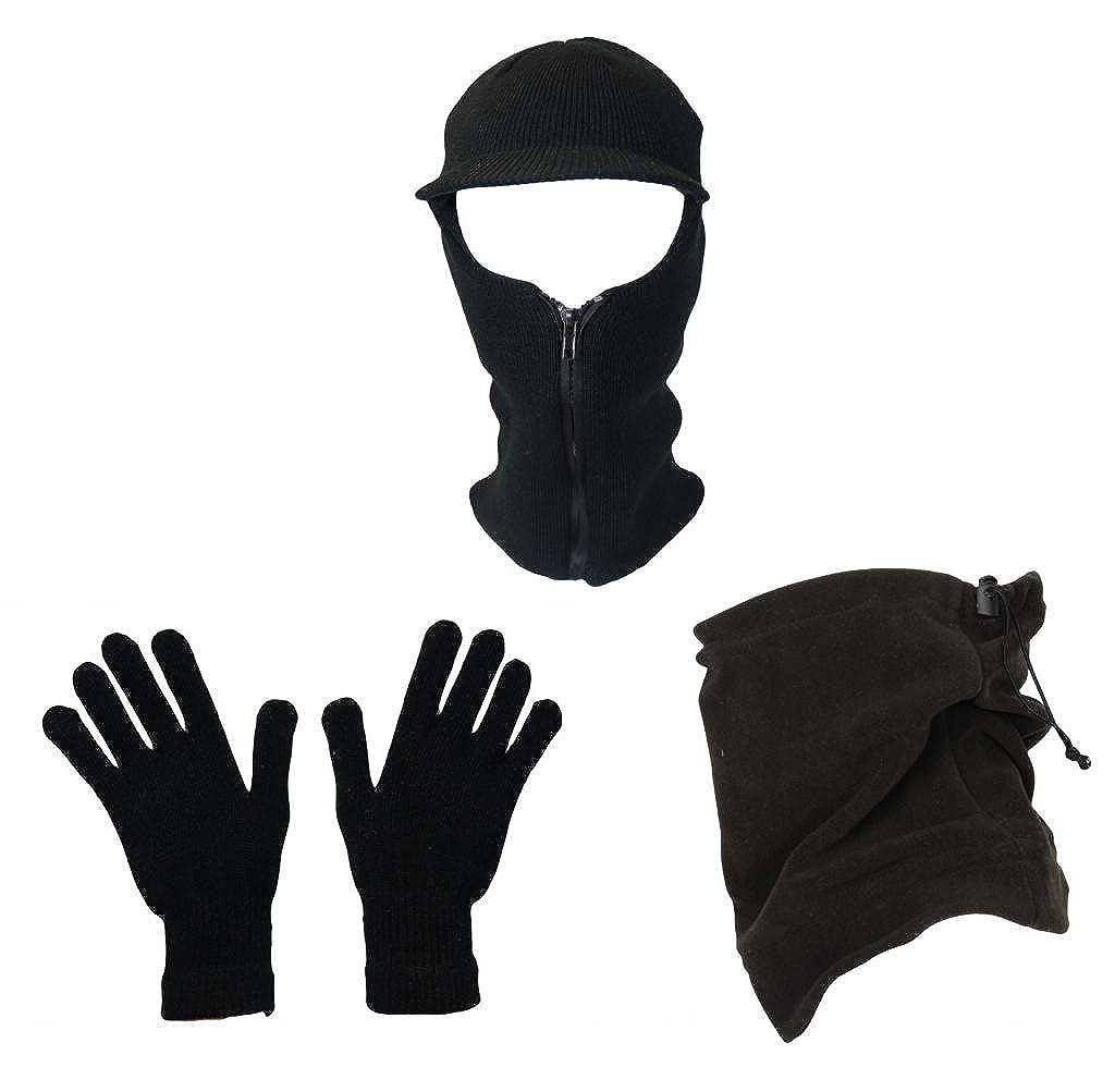 Mens Outdoor Winter Gift Set Neck Warmer Snood Balaclava Hat Glove Set Fishing Walking Set