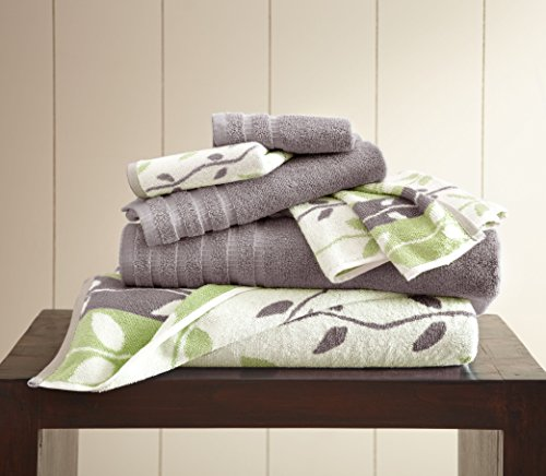 Amrapur Overseas 6-Piece Yarn Dyed Organic Vines Jacquard/Solid Ultra Soft 500GSM 100% Combed Cotton Towel Set [Ash Grey]