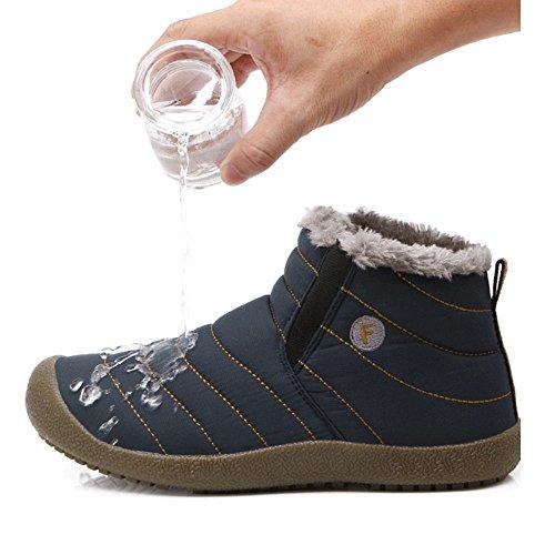 Taoffen Uomo Calzature Inverno Pull On Boots Interno Caldo Blu Scuro