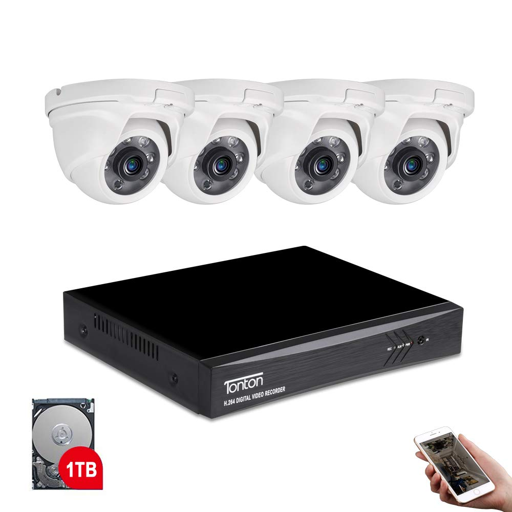 Tonton 8CH Full HD 1080P Expandable Security Camera System, 5-in-1 Surveillance DVR with 1TB Hard Drive and 4 2.0MP Waterproof Outdoor Indoor Dome Camera, Free APP Remote Viewing and Email Alert