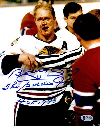 Bobby Hull Signed Photo - BECKETT BAS BLOODY HOF 1983 THE GOLDEN JET HAWKS 8x10 90 - Beckett Authentication