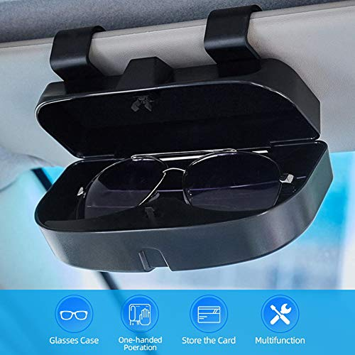 Number-one Car Visor Sunglass Case Holder Clip, Eye Glasses Storage Box with Double Card Slots Car Sunglasses Organizer Mount General for All Car Models (Black)