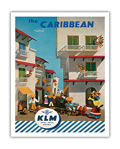 - Pacifica Island Art The Caribbean - Royal Dutch Airlines KLM - Vintage Airline Travel Poster by J. F. Van Der Leeuw c.1960s - Fine Art Print - 11in x 14in
