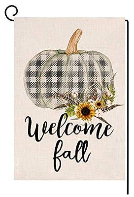 BLKWHT 107148 Welcome Fall Buffalo Check Pumpkin Small Garden Flag Vertical Double Sided 12.5 x 18 Inches Farmhouse Autumn Burlap Yard Outdoor Decor