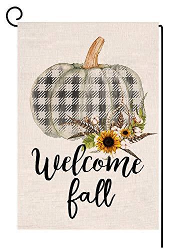 BLKWHT 107148 Welcome Fall Buffalo Check Pumpkin Small Garden Flag Vertical Double Sided 12.5 x 18 Inches Farmhouse Autumn Thanksgiving Burlap Yard Outdoor Decor