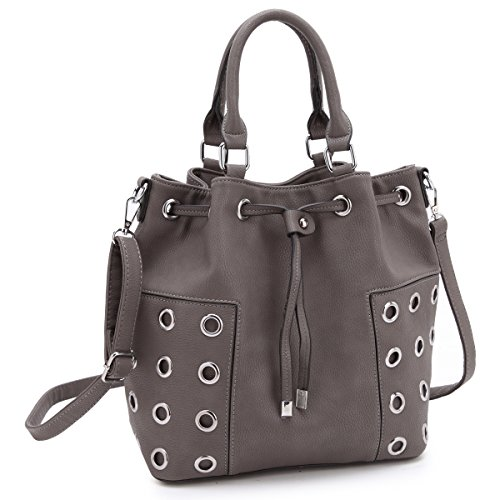 Dasein Drawstring Grommet Bucket Shoulder Bag Crossbody Grey