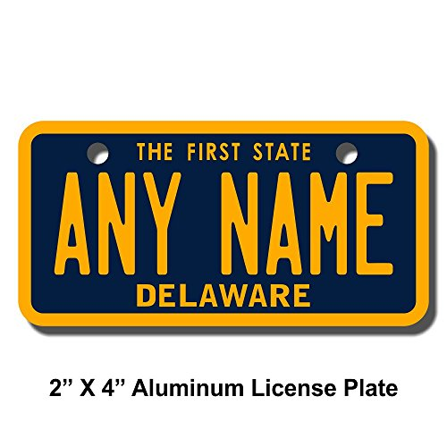 TEAMLOGO Personalized Delaware License Plate - Sizes for Kid's Bikes, Cars, Trucks, Cart, Key Rings Version 1 (2 x 4 Aluminum License Plate)
