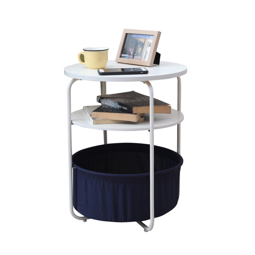 Navy bluee Laptop Table Small Round Table by The Side of The Sofa, Side Table, Bedside Table, Mobile Coffee Table Support (color   Navy bluee)