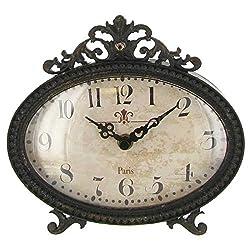 Vintage Design Black Pewter Desk Table Shelf Clock