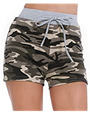 ZEALOTPOWER Camouflage Shorts Women Elastic Waist Drawstring Pocket Comfy Lounge Workout