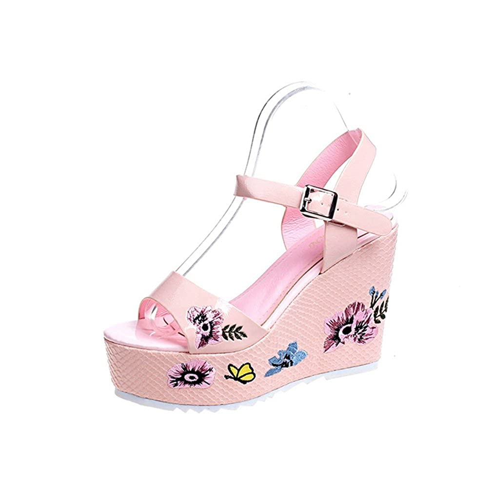T-JULY Women Ladies Girls PU Leather Embroidery Flower Wedge Platform High Heels Sandals Peep Toe Slip on Dressy Slippers