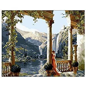 DIY Paint by Numbers Acrylic Oil Painting Kit for beautiful Lake landscape scenery